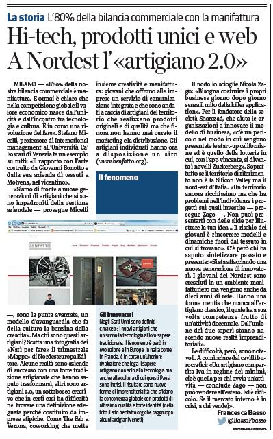 L'articolo sul Corriere della Sera