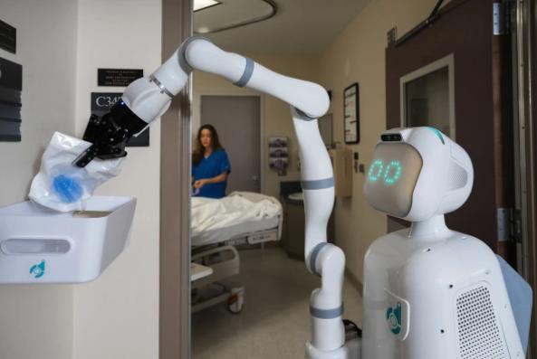 Il robot Moxi all'opera. Progettato e costruito secondo una visione connessa alle impostazioni del Lean Thinking.